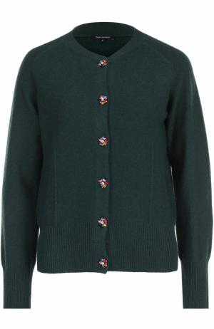 Шерстяной кардиган с круглым вырезом Tara Jarmon. Цвет: темно-зеленый