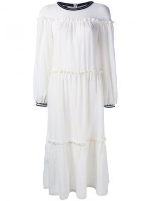 Платье с оборками Mother Of Pearl. Цвет: телесный