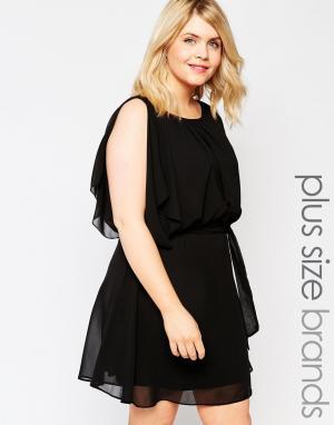 Club L Платье с расклешенными рукавами Plus. Цвет: черный