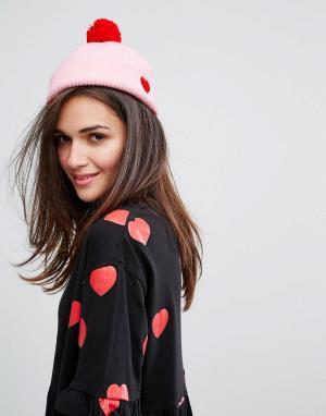 Lazy Oaf Розовая шапка-бини с сердцем. Цвет: розовый