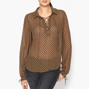 Блузка с рисунком, со шнуровкой на вырезе MAISON SCOTCH. Цвет: темно-бежевый