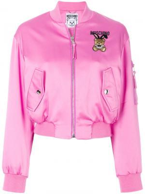 Куртка-бомбер Playboy Toy Bear Moschino. Цвет: розовый и фиолетовый