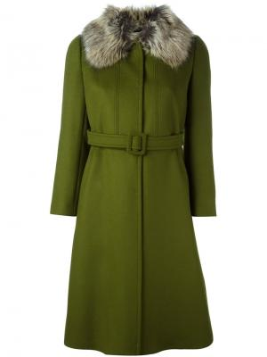 Пальто с поясом LAutre Chose L'Autre. Цвет: зелёный