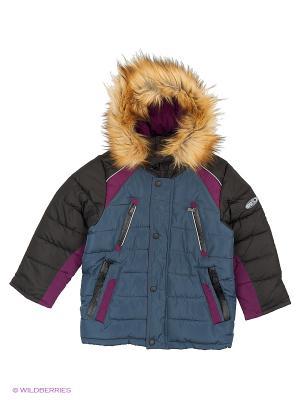 Куртка для мальчика Авиатор Пралеска. Цвет: серый, темно-фиолетовый