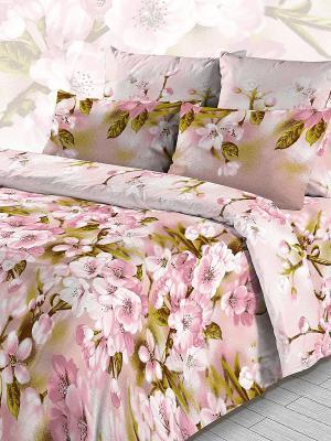 Комплект постельного белья из бязи 1,5 спальный Василиса. Цвет: розовый, зеленый
