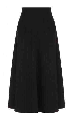 Однотонная юбка-миди Elizabeth and James. Цвет: черный