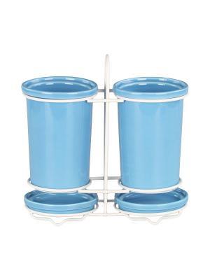 Подставка для столовых приборов 13*8,5 см., шт PATRICIA. Цвет: голубой