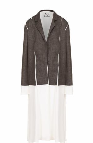 Хлопковое пальто свободного кроя с узкими лацканами Acne Studios. Цвет: коричневый