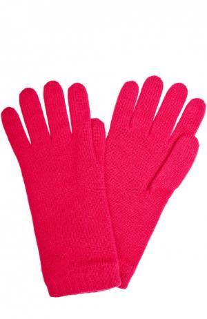 Вязаные перчатки из кашемира Johnstons Of Elgin. Цвет: фуксия