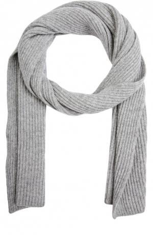Вязаный шарф из кашемира Johnstons Of Elgin. Цвет: светло-серый