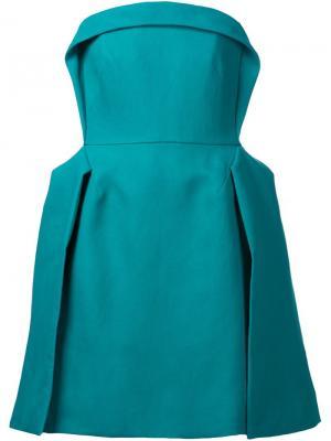 Плиссированное платье без бретелек Delpozo. Цвет: зелёный