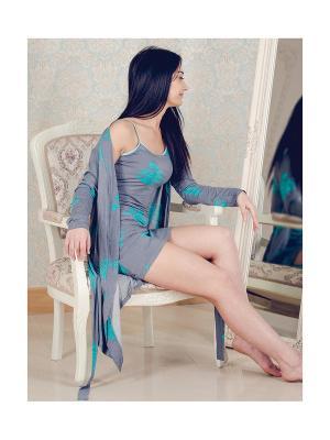 Халат-сорочка для дома You&Me. Цвет: бирюзовый, серый меланж