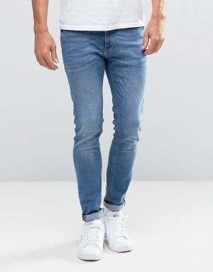 Jack & Jones Голубые джинсы скинни Intelligence. Цвет: черный
