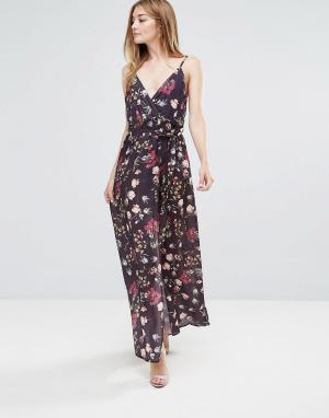 Oh My Love Платье макси с принтом и запахом. Цвет: мульти
