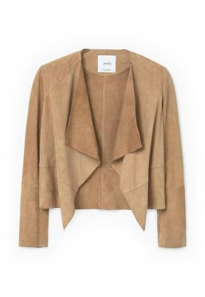 Куртка кожаная Mango. Цвет: бежевый