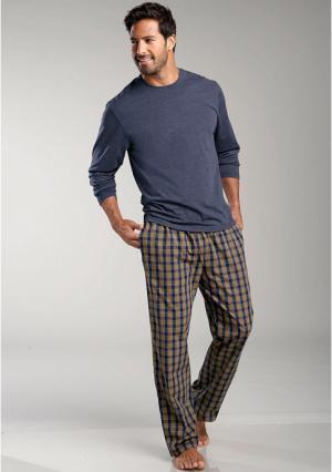 Пижама LE JOGGER. Цвет: темно-синий меланжевый в клетку