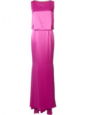 Длинное платье Morgan Zac Posen. Цвет: розовый и фиолетовый