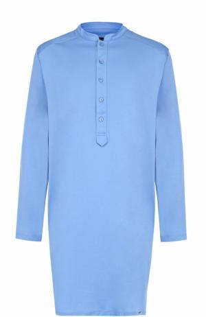 Хлопковая ночная сорочка Hanro. Цвет: голубой