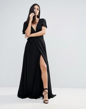 The Jetset Diaries Платье макси с глубоким V-образным вырезом Lorenzo. Цвет: черный