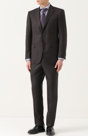 Шерстяной костюм с пиджаком на двух пуговицах Pal Zileri. Цвет: коричневый