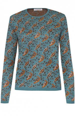 Пуловер прямого кроя с контрастным принтом и круглым вырезом Tak.Ori. Цвет: бирюзовый