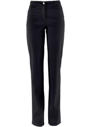 Прямые брюки стретч, cредний рост N (черный) bonprix. Цвет: черный