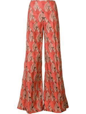Жаккардовые брюки палаццо Emilia Wickstead. Цвет: жёлтый и оранжевый