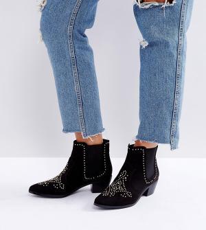 New Look Wide Fit Ковбойские ботинки с заклепками для широкой стопы. Цвет: черный