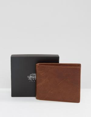 Saville Row Кожаный бумажник с карманом для монет. Цвет: рыжий