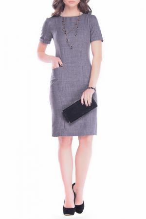Платье прямого покроя с карманами Dioni. Цвет: графитовый