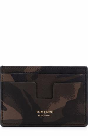 Кожаный футляр для кредитных карт Tom Ford. Цвет: оливковый