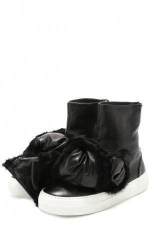 Высокие кожаные кеды с бантом Joshua Sanders. Цвет: черный