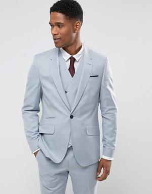 ASOS Голубой приталенный пиджак из 100% шерсти Wedding. Цвет: синий