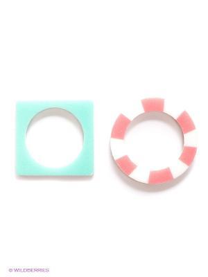 Кольцо Funky Fish. Цвет: бирюзовый, розовый, белый