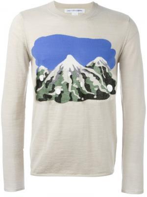 Свитер с принтом гор Comme Des Garçons Shirt. Цвет: телесный