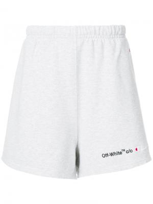 Off White x Champion logo track shorts Off-White. Цвет: серый