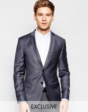 Number Eight Savile Row Эксклюзивный жаккардовый облегающий блейзер. Цвет: серый