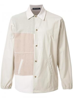 Рубашка в стиле пэчворк Longjourney. Цвет: коричневый