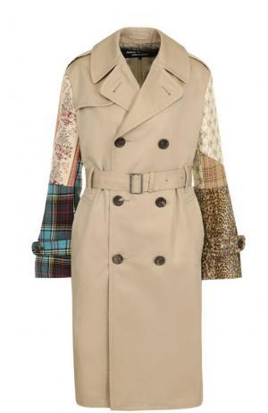 Двубортное пальто с декорированными рукавами и поясом Junya Watanabe. Цвет: бежевый