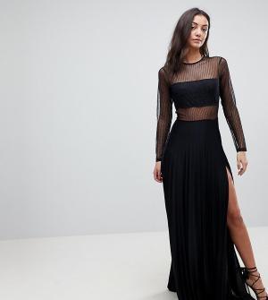 ASOS Tall Платье макси с длинными рукавами и плиссированной юбкой. Цвет: черный