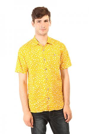 Рубашка  Shark Skin Aloha Shirt Golden Rod Lightning Bolt. Цвет: желтый,белый