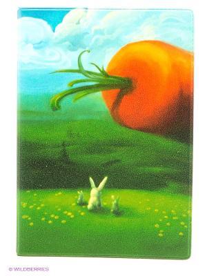 Обложка для паспорта Заяц и морковка Mitya Veselkov. Цвет: зеленый, голубой, оранжевый