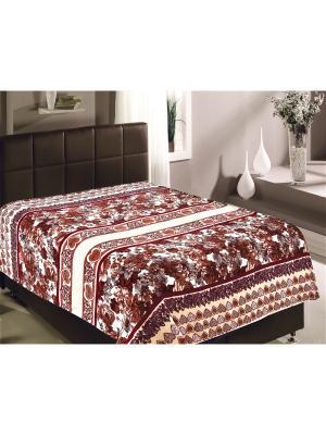 Плед TexRepublic Полоска 2-спальный. Цвет: белый, коричневый