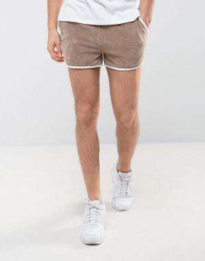ASOS Бежевые велюровые шорты для бега. Цвет: бежевый