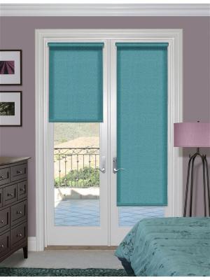 Миниролло на балконную дверь, рояль бирюзовый, размер: 52х215 см Kauffort. Цвет: бирюзовый