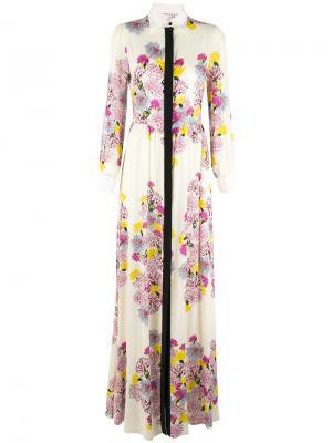 Floral top-button maxi dress Daniele Carlotta. Цвет: белый