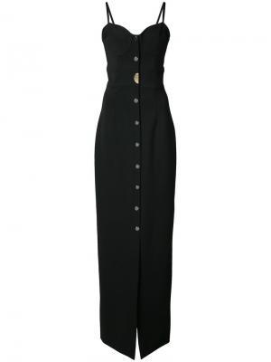 Длинное платье с вырезом сердечком Cushnie Et Ochs. Цвет: чёрный