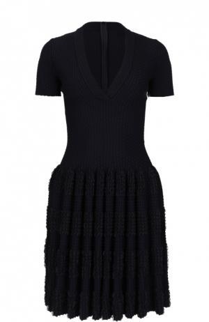 Мини-платье с драпированной юбкой Alaia. Цвет: черный