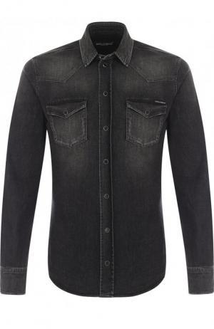 Джинсовая рубашка на кнопках Dolce & Gabbana. Цвет: серый