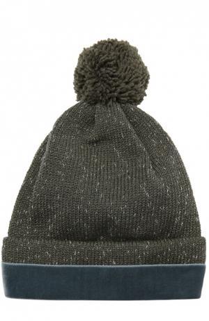 Вязаная шапка из металлизированных нитей 7II. Цвет: хаки